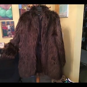Faux fur coat.